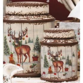 Barattolo Anticato Ceramica Natalizio cm.18 1*36