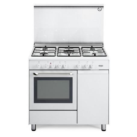 Cucina Bompani 90x60x85 Bianca 4 Fuochi Pistra Elettrica E Forno Gas Con Grill